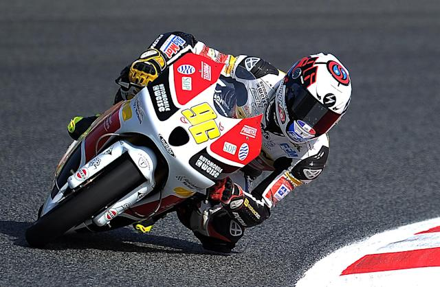 Racing Team Germany Louis Rossi takes a curve before at the Catalunya racetrack in Montmelo, near Barcelona, on June 2, 2012, during the Moto3 qualifying session of the Catalunya Moto GP Grand Prix. Racing Team Germany Louis Rossi placed third. AFP PHOTO/LLUIS GENELLUIS GENE/AFP/GettyImages