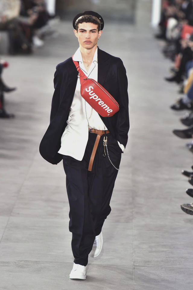 <p>Here, front and center, is one of the many key accessories from the highly successful collaborative collection between Louis Vuitton and Supreme. (Photo: Catwalking) </p>
