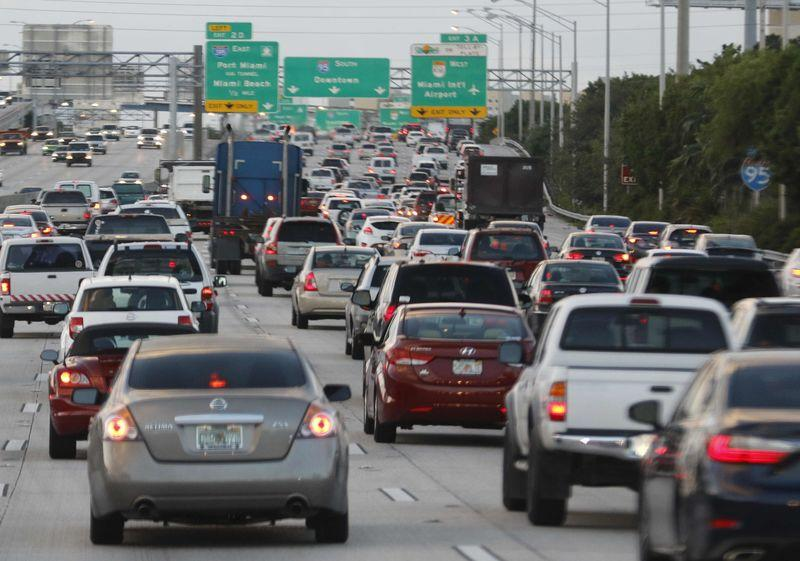 File photo of rush hour traffic on Interstate 95 near downtown Miami Florida