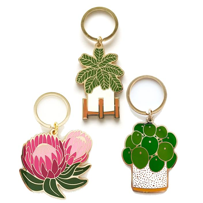 Enamel pilea plant key chain (and others) from Desiree Perez.
