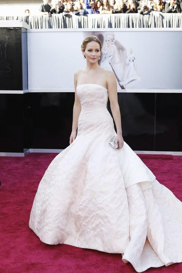 Lawrence channeled a modern princess in that infamous Dior Couture gown for the 2013 Oscars, where she won Best Actress (and tripped on her way up the stairs to collect the award).