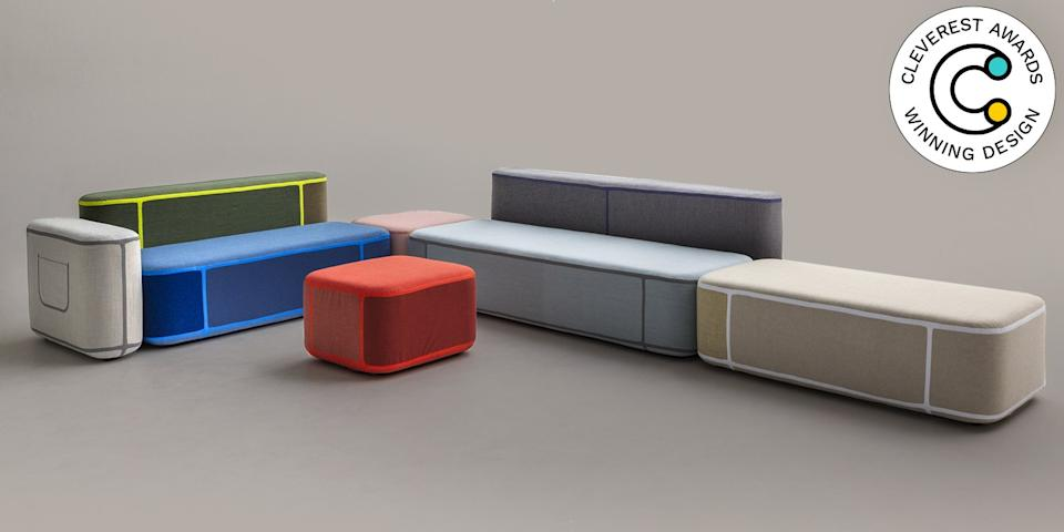 Tape Sofa by Benjamin Hubert for Moroso It's stressful to buy a new sofa, but it's fun to build your own with modular pieces like those in the Tape collection. Each seat and table includes a strip of polyurethane tape to bond it together with the other pieces. Now, crafting your perfect seating arrangement can be as entertaining as playing with Legos. moroso.it