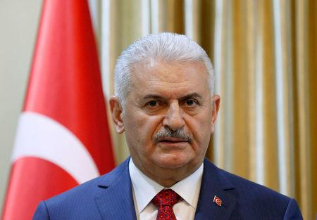 Turkish Prime Minister Binali Yildirim speaks during a news conference in Kabul