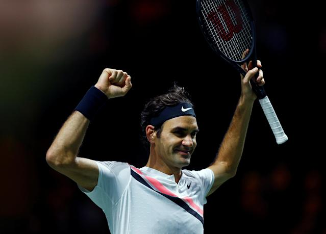 Tennis - ATP 500 - Rotterdam Open - Final - Ahoy, Rotterdam, Netherlands - February 18, 2018 - Roger Federer of Switzerland celebrates after winning against Grigor Dimitrov of Bulgaria. REUTERS/Michael Kooren