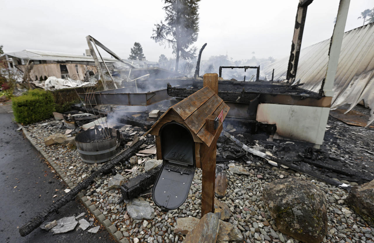 A mailbox is all that remains of one of four mobile homes which were destroyed in a gas fire Sunday, Aug. 24, 2014, at the Napa Valley Mobile Home Park, in Napa, Calif. A large earthquake caused significant damage and left at least three critically injured in California's northern Bay Area early Sunday, igniting fires, sending at least 87 people to a hospital, knocking out power to tens of thousands and sending residents running out of their homes in the darkness. (AP Photo/Ben Margot)