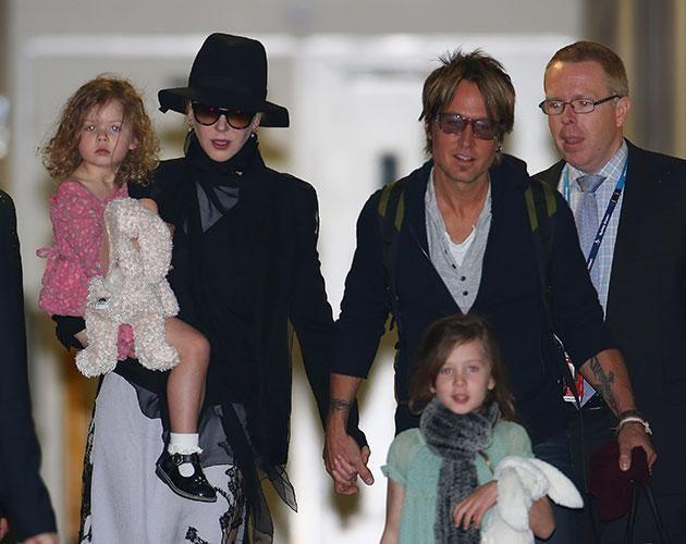 Nicole, with Keith and their two daughters, says she is the family 'caretaker'. Source: Getty Images.