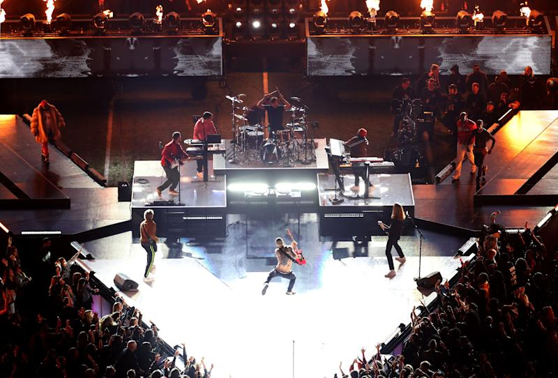 Maroon 5 performs with Big Boi, Sleepy Brown and Travis Scott during the Pepsi Super Bowl LIII Halftime Show (Photo: Rob Carr via Getty Images)