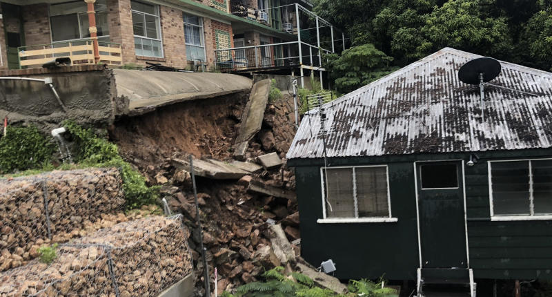 The landslide caused a retaining wall to collapse on Stanley Street Townsville. Source Ben Downie/7NewsMore