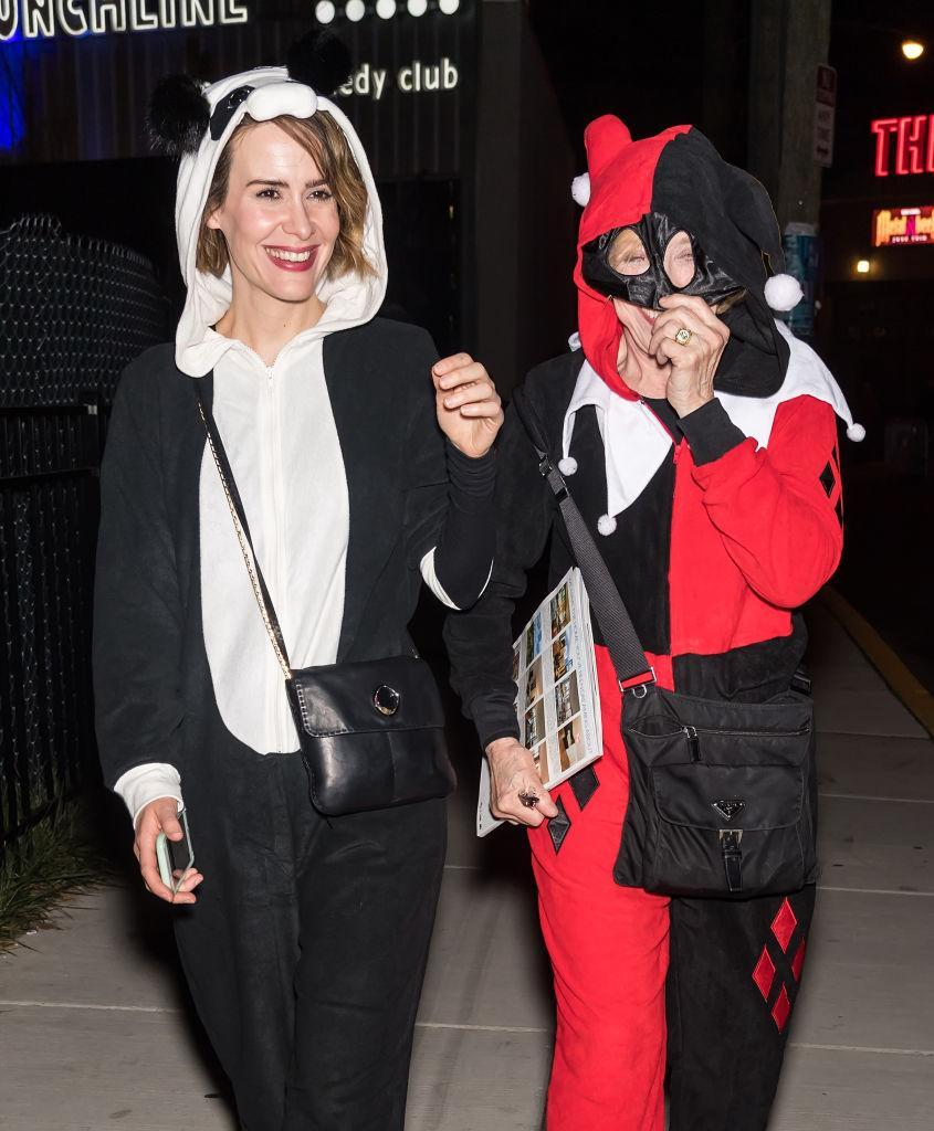 <p>Perhaps appearing in <em>American Horror Story</em> has made Paulson averse to scary creatures? She dressed as a panda and her love Taylor played a jester. (Photo: Gilbert Carrasquillo/GC Images) </p>