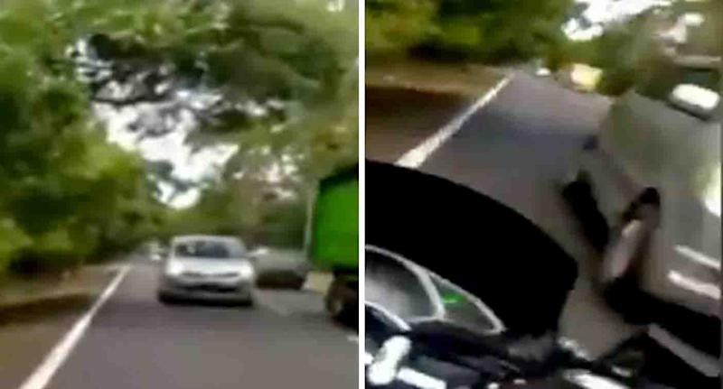 Dashcam footage shows the moments which led to a Sydney woman allegedly running down and killing a scooter rider on a Bali road. Source: 9 News