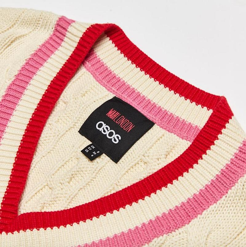 One of the most striking looks from the #WAHXASOS collection is this cable knit sweater inspired by Princess Diana's varsity style. (Photo: Courtesy of Instagram/asos)