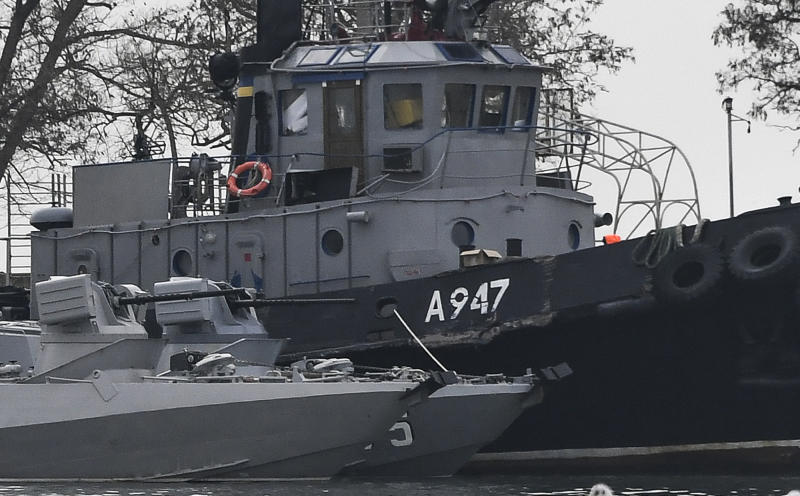 25 2018 file photo damage can be seen to one of three ukrainian ships seized by russia during a naval incident near the annexed crimean peninsula