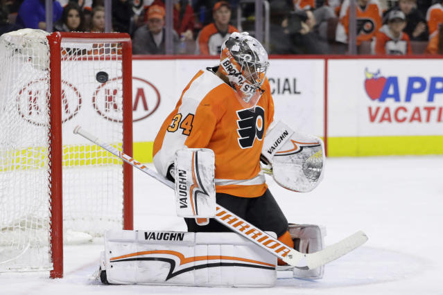 Philadelphia Flyers' Petr Mrazek cannot stop a goal by Vegas Golden Knights' Ryan Carpenter during the third period of an NHL hockey game, Monday, March 12, 2018, in Philadelphia. (AP Photo/Matt Slocum)