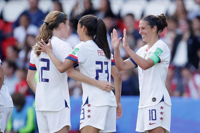 Carli Lloyd's two goals were the highlights of the USWNT's record-breaking match. (Photo by Eric Verhoeven/Soccrates/Getty Images)