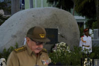 FILE - In this Jan. 1, 2019 file photo, Cuba's First Secretary of Communist Party Raul Castro gives a speech during the celebration of 60th Anniversary of Cuban Revolution in front the tomb of his brother Fidel Castro at the Santa Ifigenia cemetery in Santiago de Cuba. For most of his life, Raul Castro played second-string to his brother, but for the past decade, it's Raul who's been the face of communist Cuba. On Friday, April 16, 2021, Raul Castro formally announced he'd step down as head of the Communist Party, leaving Cuba without a Castro in an official position of command for the first time in more than six decades. (Yamil Lage/Pool Photo via AP, File)
