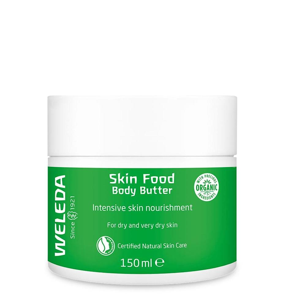 <p>Weleda's Skin Food has long been lauded as a cure-all moisturizer that can be used not just on your face but also your cuticles, hands, elbows, and any other rough spots you might have. Makeup artists often break it out backstage at the end of Fashion Week when the models' skin really need some TLC. But the Skin Food tube is tiny, which is why the brand decided to create a <span>Weleda Skin Food Body Butter</span> ($19) version that comes in a large jar. It's thick because it's meant for dry and very dry skin, but it doesn't take too long to absorb and leaves skin feeling soft and comfortable all day long.</p>
