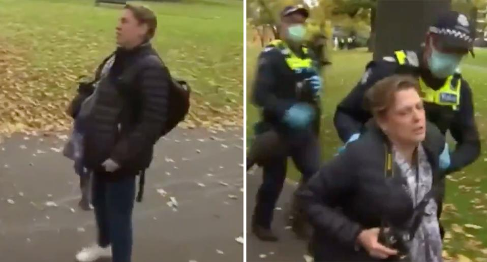 Stills from video of woman breathing on media crews in Melbourne.