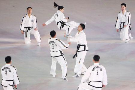 Feb 9, 2018; Pyeongchang, South Korea; North-South taekwondo team performs before the opening ceremony during the Pyeongchang 2018 Olympic Winter Games at Pyeongchang Olympic Stadium. Mandatory Credit: Geoff Burke-USA TODAY Sports