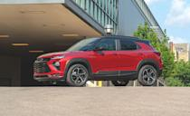 """<p>The <a href=""""https://www.caranddriver.com/chevrolet/trailblazer"""" rel=""""nofollow noopener"""" target=""""_blank"""" data-ylk=""""slk:Trailblazer"""" class=""""link rapid-noclick-resp"""">Trailblazer</a> sits step above the subcompact Chevrolet Trax. It has five extra cubic feet of interior space, a lower starting price, and can accommodate longer items thanks to fold-flat seats. Like the Trax, the Trailblazer's front-passenger seat can also fold forward. There's 54 cubic feet of space with the rear seats folded, which is more than every vehicle on this list except the Kia Soul, Kia Seltos, and Honda HR-V.</p><ul><li>Base price: $20,195</li><li>Carry-on capacity, rear seats folded: 19 suitcases</li><li>Cargo volume, rear seats folded: 54 cubic feet<br></li><li>Cargo volume, behind rearmost row of seats: 25 cubic feet<br></li></ul><p><a class=""""link rapid-noclick-resp"""" href=""""https://www.caranddriver.com/chevrolet/trailblazer/specs"""" rel=""""nofollow noopener"""" target=""""_blank"""" data-ylk=""""slk:MORE TRAILBLAZER SPECS"""">MORE TRAILBLAZER SPECS</a></p>"""