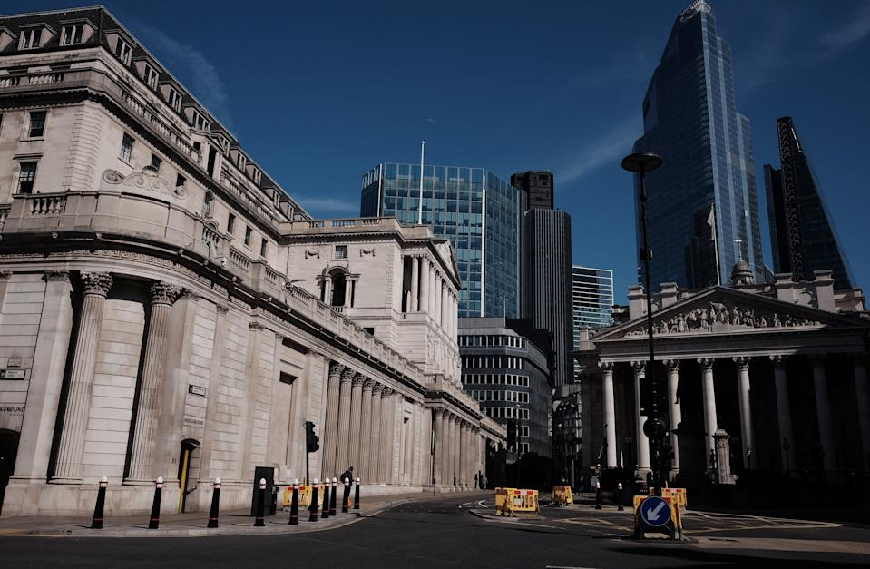 The Bank of England in the City of London, the day after Prime Minister Boris Johnson put the UK in lockdown to help curb the spread of the coronavirus.
