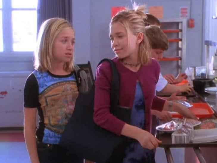 Mary-Kate and Ashley in a cafeteria