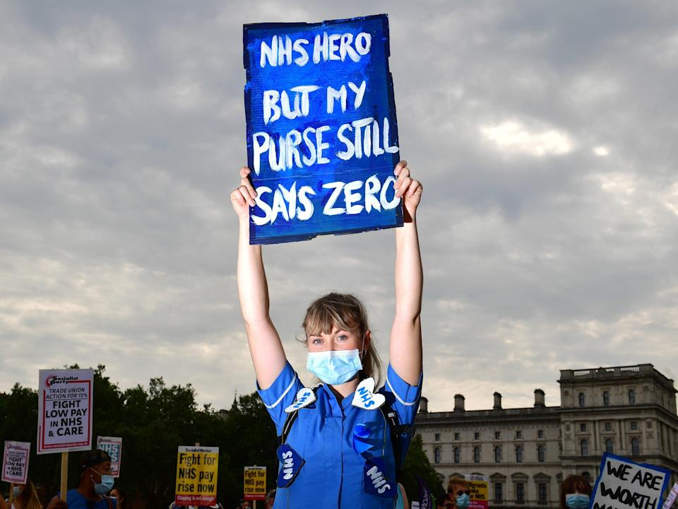 NHS staff have protested failure to award pay rise (PA)