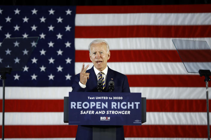 Democratic presidential candidate former Vice President Joe Biden speaks Wednesday, June 17, 2020, in Darby, Pa. (AP Photo/Matt Slocum)