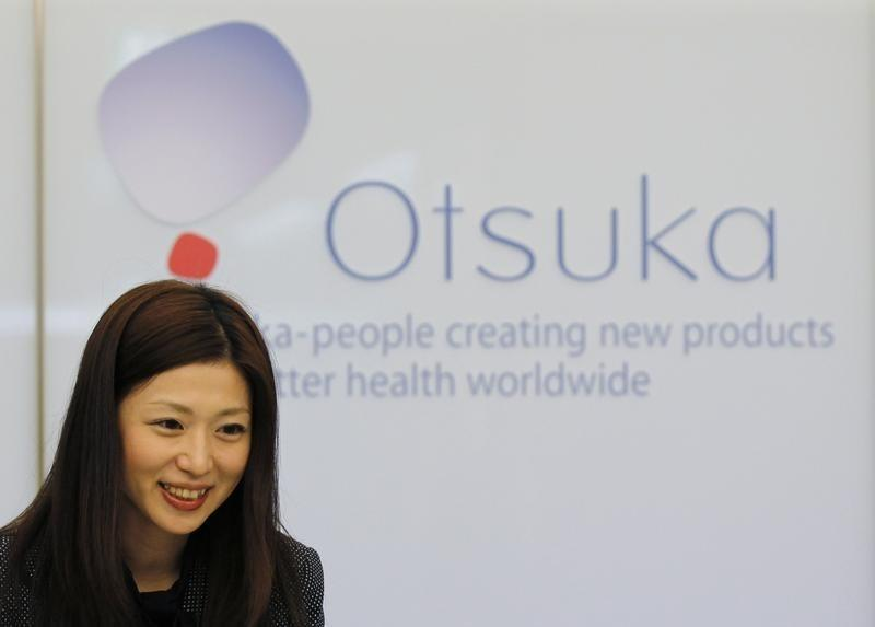 Receptionist works at the Otsuka Holdings Co headquarters in Tokyo