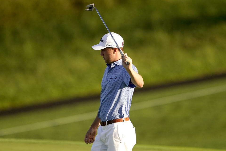 Justin Thomas reacts to his shot on the 12th green during a practice round prior to the Tournament of Champions golf event, Wednesday, Jan. 6, 2021, at Kapalua Plantation Course in Kapalua, Hawaii. (AP Photo/Matt York)
