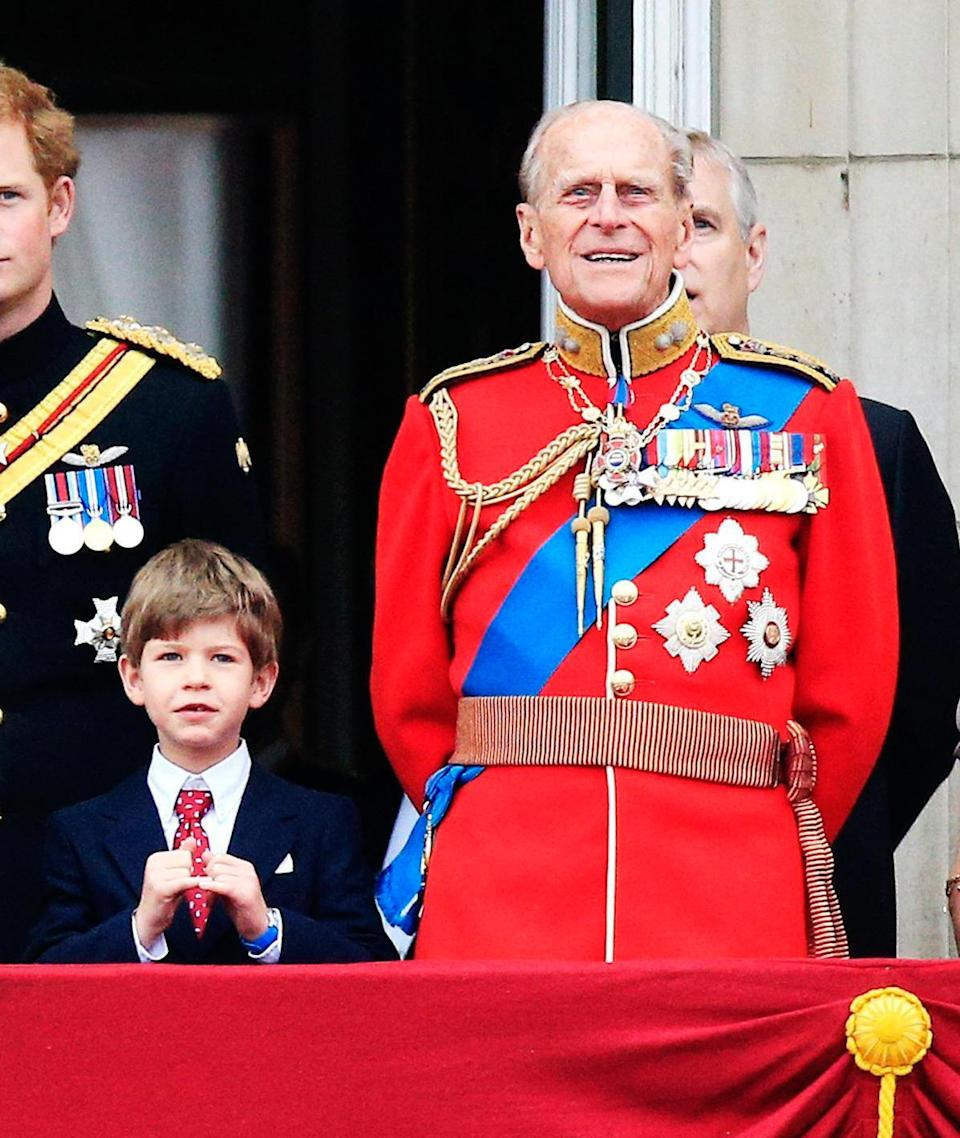 James with grandfather on the Palace balcony in 2015