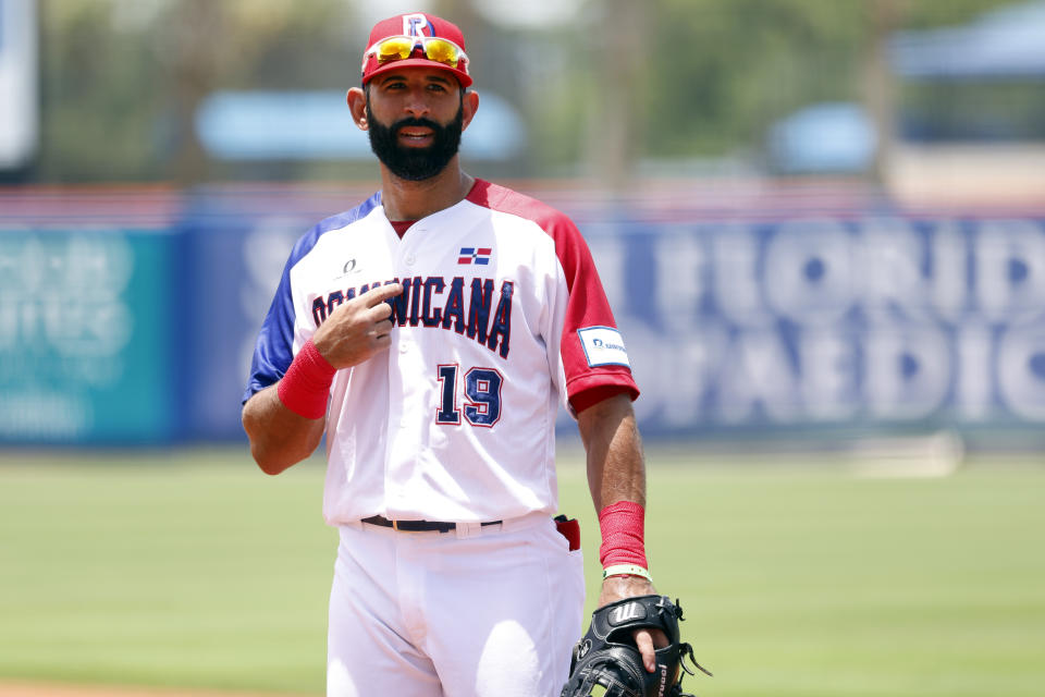PORT ST. LUCIE, FL - JUNE 05:  José Bautista #19 of Team Dominican Republic points to himself during the 2021 WBSC Baseball America Qualifier at Clover Park on Saturday, June 5, 2021 in Port St. Lucie, Florida. (Photo by Rhona Wise/MLB Photos via Getty Images)