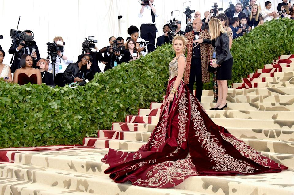"""<p>In 2018, Blake looked like an absolute queen for the """"Heavenly Bodies: Fashion and the Catholic Imagination"""" theme <a href=""""https://www.popsugar.com/fashion/Blake-Lively-Met-Gala-Dress-2018-44677172"""" class=""""link rapid-noclick-resp"""" rel=""""nofollow noopener"""" target=""""_blank"""" data-ylk=""""slk:in a Versace gown"""">in a Versace gown</a> that featured an intricately beaded bodice.</p>"""