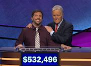 """<p>Albuquerque math teacher Jason Zuffranieri won a total of $532,496 over 19 games in 2019, cementing him in the<em> Jeopardy!</em> pantheon as the fourth highest-earning contestant of all time. He shares the record for fourth-longest winning streak with David Madden (more on him below). The historic streak was a long time coming for Zuffranieri, who auditioned for <em>Jeopardy!</em> nine times before making it onto the show. """"My mentality for 25 years was that I wasn't meant to be on the show for whatever reason: not smart enough, not camera-friendly, not interesting, whatever,"""" Zuffranieri <a href=""""https://www.thewrap.com/jeopardy-jason-zuffranieris-19-game-winning-streak-comes-to-an-end/"""" rel=""""nofollow noopener"""" target=""""_blank"""" data-ylk=""""slk:said"""" class=""""link rapid-noclick-resp"""">said</a>. """"To finally get a chance on that stage was a dream come true, and the level of good fortune I received is truly beyond anything I ever considered could happen.""""</p>"""