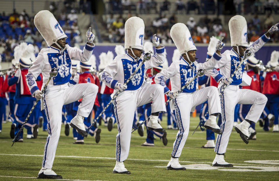 """MEMPHIS, TN - SEPTEMBER 14: Drum Majors of the TSU """"Aristocrat of Bands"""" perform at halftime during the Southern Heritage Classic game between the Jackson State University Tigers and the Tennessee State Tigers on Saturday September 14, 2019 at Liberty Bowl Memorial Stadium in Memphis, TN.  (Photo by Nick Tre. Smith/Icon Sportswire via Getty Images)"""