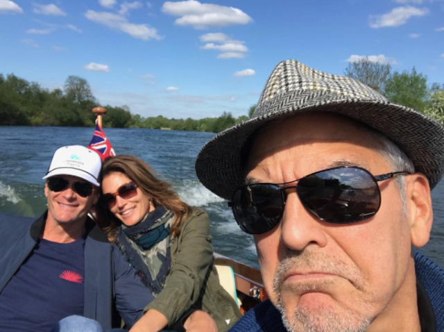"""<p>The supermodel traveled to England so her hubby, Rande Gerber, and his BFF George Clooney could celebrate their birthdays together. """"We can always count on him for the photobomb,"""" Crawford wrote, referring to Clooney, who made sure he was represented in this pic. (Photo: Courtesy <a href=""""https://www.instagram.com/p/BT1P4YOAmgm/"""" rel=""""nofollow noopener"""" target=""""_blank"""" data-ylk=""""slk:Cindy Crawford via Instagram"""" class=""""link rapid-noclick-resp"""">Cindy Crawford via Instagram</a>) </p>"""