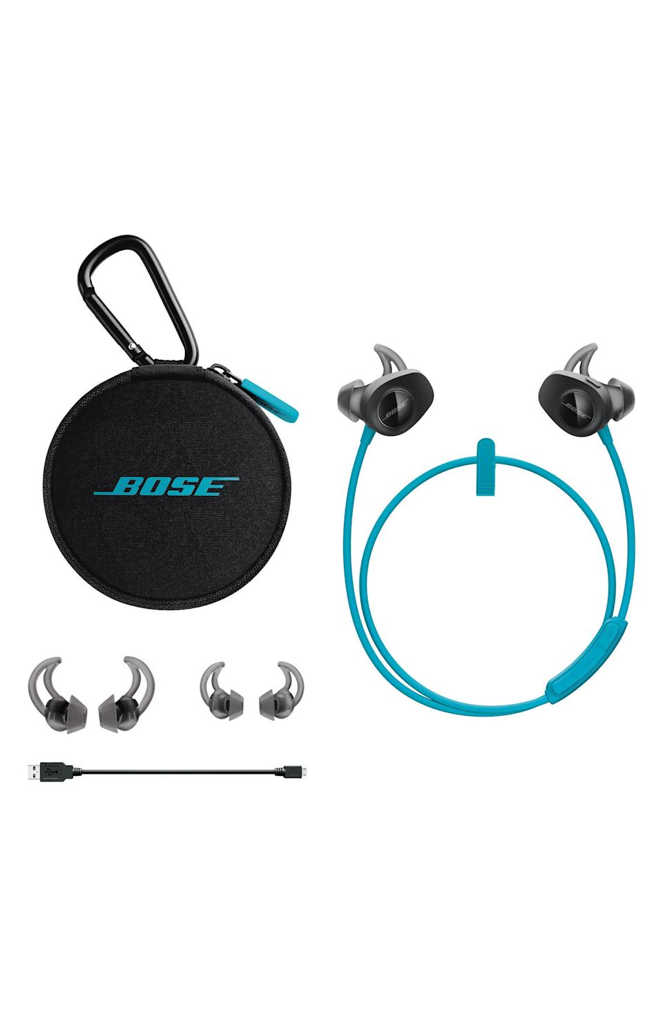 """<p><strong>BOSE</strong></p><p>nordstrom.com</p><p><strong>$129.00</strong></p><p><a href=""""https://go.redirectingat.com?id=74968X1596630&url=https%3A%2F%2Fshop.nordstrom.com%2Fs%2Fbose-soundsport-wireless-earbuds%2F4386893&sref=https%3A%2F%2Fwww.harpersbazaar.com%2Fbeauty%2Fhealth%2Fg23900366%2Fbest-fitness-gifts-ideas%2F"""" rel=""""nofollow noopener"""" target=""""_blank"""" data-ylk=""""slk:SHOP"""" class=""""link rapid-noclick-resp"""">SHOP</a></p><p>You'll push yourself harder during every workout when the sound quality of your music is this good.</p>"""