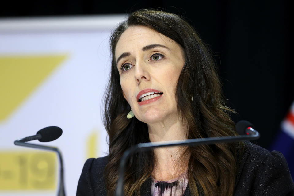 New Zealand Prime Minister Jacinda Ardern addresses a press conference after the 2020 budget at Parliament in Wellington, New Zealand, Thursday, May 14, 2020. New Zealand's government plans to borrow and spend vast amounts of money as it tries to keep unemployment below 10% in the wake of the coronavirus pandemic. (Hagen Hopkins/Pool Photo via AP)
