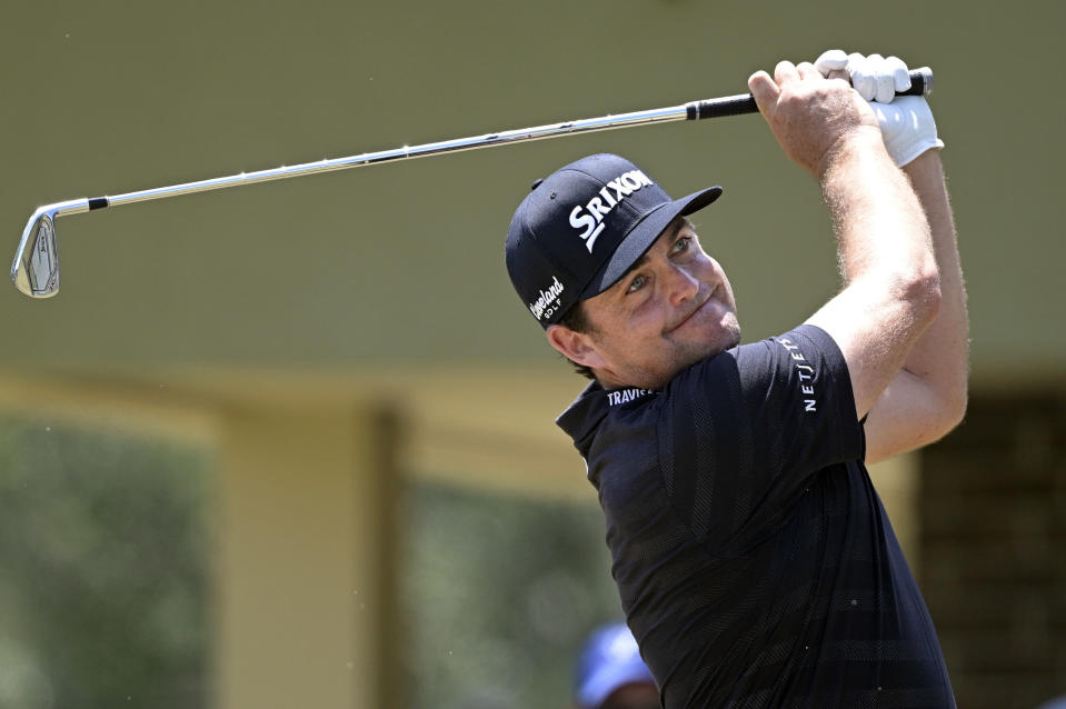 Keegan Bradley tees off on the second hole during the final round of the Valspar Championship golf tournament, Sunday, May 2, 2021, in Palm Harbor, Fla. (AP Photo/Phelan M. Ebenhack)