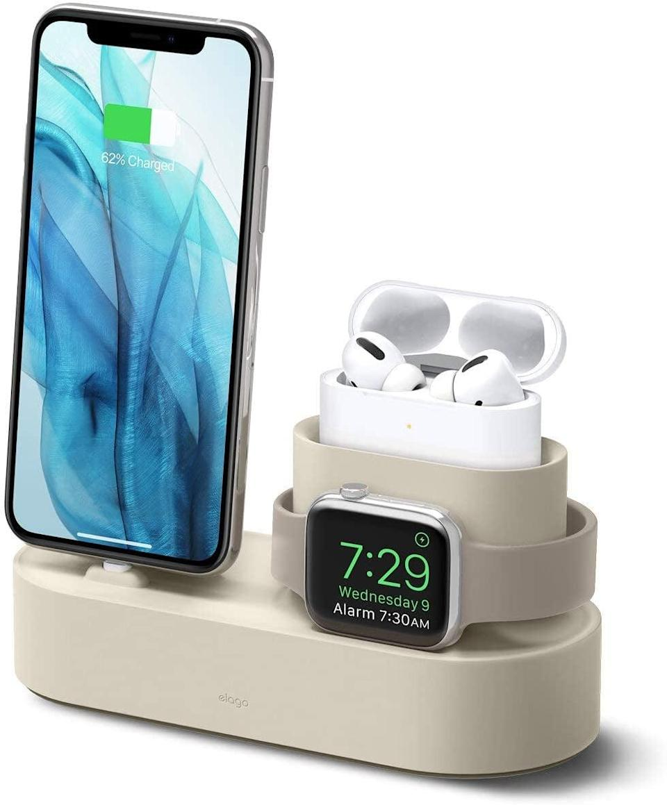 <p>They can charge their phone, watch, and AirPods all at once with this helpful <span>Elago Charging Hub</span> ($23).</p>
