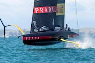 On a knife-edge: America's Cup challenger Luna Rossa is put through its paces on a practice run off Auckland this week ahead of the warm-up race series which begins on Thursday