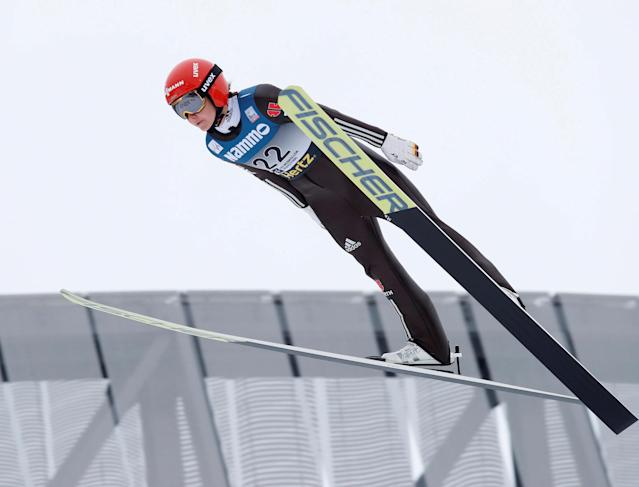 REFILE - CORRECTING BYLINE FIS Ski Jumping World Cup - Women's HS134 - Holmenkollen, Norway - March 11, 2018. Carina Vogt of Germany competes. NTB Scanpix/Terje Bendiksby via REUTERS ATTENTION EDITORS - THIS IMAGE WAS PROVIDED BY A THIRD PARTY. NORWAY OUT. NO COMMERCIAL OR EDITORIAL SALES IN NORWAY.