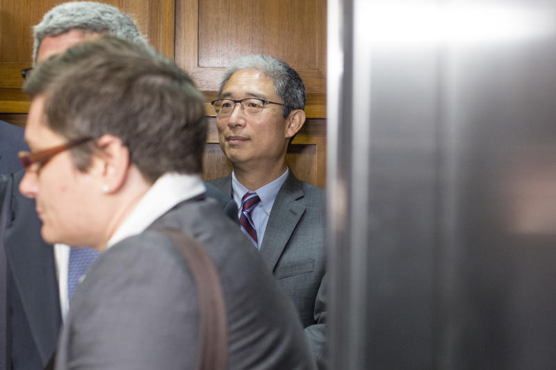 An elevator door at the Capitol closes Tuesday on Bruce Ohr, international man of some mystery.