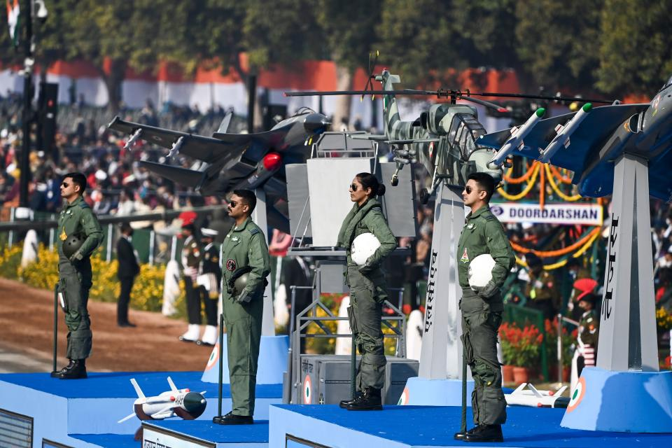 Air Force officers stand on float during the Republic Day parade in New Delhi on January 26, 2021. (Photo by Jewel SAMAD / AFP) (Photo by JEWEL SAMAD/AFP via Getty Images)