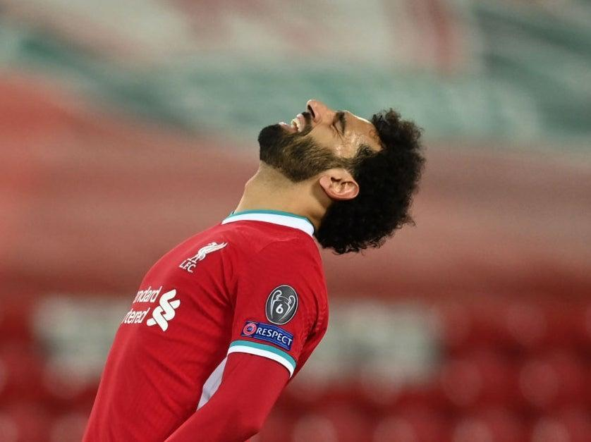 <p>Mohamed Salah reacts during Liverpool's defeat</p> (Getty Images)