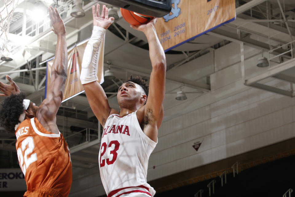 Indiana Hoosiers forward Trayce Jackson-Davis (4) takes a shot against Texas Longhorns forward Kai Jones (22) during a game on Nov. 30. (Brian Spurlock/Icon Sportswire via Getty Images)