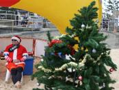 A surf lifesaver sits by a Christmas tree on Christmas Day at Bondi Beach in Sydney