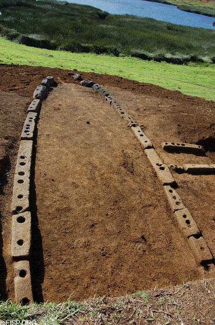 """Hare Paenga RR - 001 - 155, is excavated. <br> <a href=""""http://www.eisp.org/"""" rel=""""nofollow noopener"""" target=""""_blank"""" data-ylk=""""slk:For more information visit the Easter Island Statue Project"""" class=""""link rapid-noclick-resp"""">For more information visit the Easter Island Statue Project</a>"""