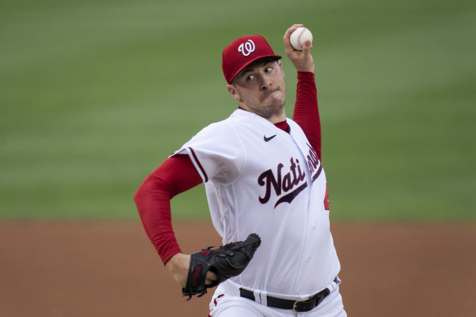 Washington Nationals starting pitcher Patrick Corbin throws during the first inning of a baseball game against the Philadelphia Phillies in Washington, Tuesday, Aug. 3, 2021. (AP Photo/Manuel Balce Ceneta)