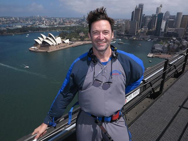 <p><em>The Greatest Showman</em> star Hugh Jackman continued to reach new hieghts as he posed for a pic on Sydney's world-famous Harbour Bridge on Tuesday. Jackman was back home in Australia with his family for Christmas and New Year's. (Photo: GLH /BACKGRID)<br><br></p>