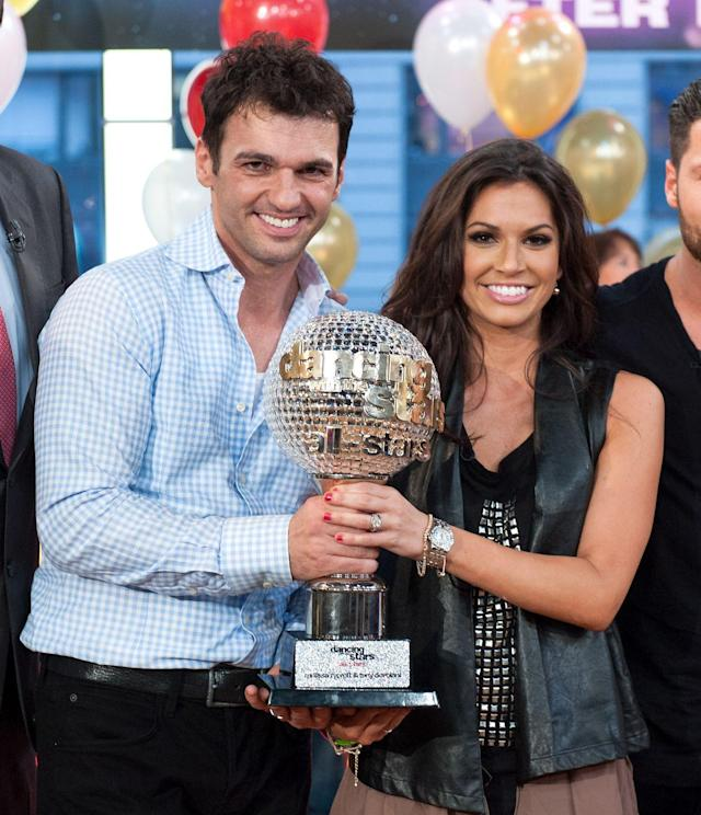 <p><em>Bachelor </em>winner-then-dumpee (Arie wasn't the first <em>Bachelor </em>to marry his runner up!) Melissa Rycroft finished first on the All-Stars seaon of <em>DWTS</em>. She danced with pro Tony Dovolani. </p>